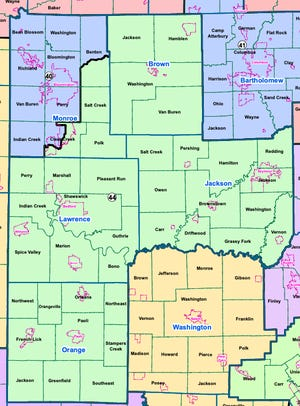 The new Indiana Senate district map proposed by Republicans in the Indiana House would keep District 40 entirely within Monroe County but change its southern border. The new multi-county District 44 would have drastically different borders.