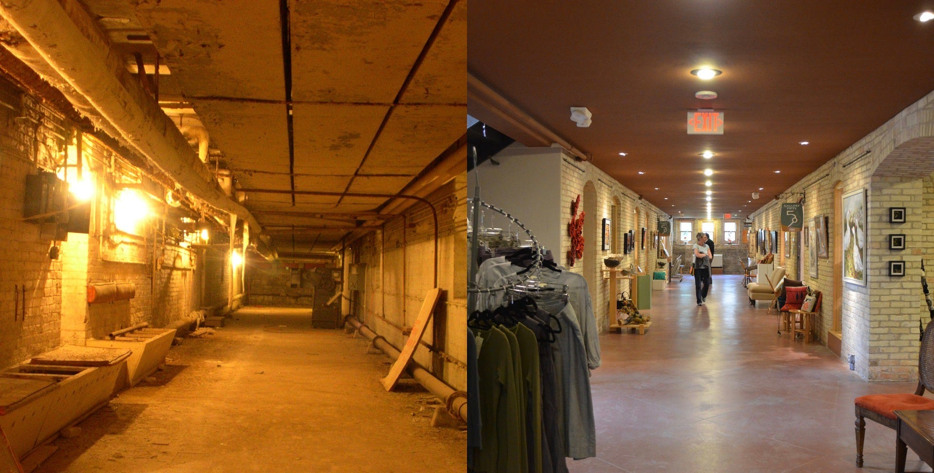 This before-and-after collage shows a renovated hallway in the former Traverse City State Hospital. Building 50 was vacant for decades before The Minervini Group began renovations to create The Village at Grand Traverse Commons. The hallway now holds a variety of shops.