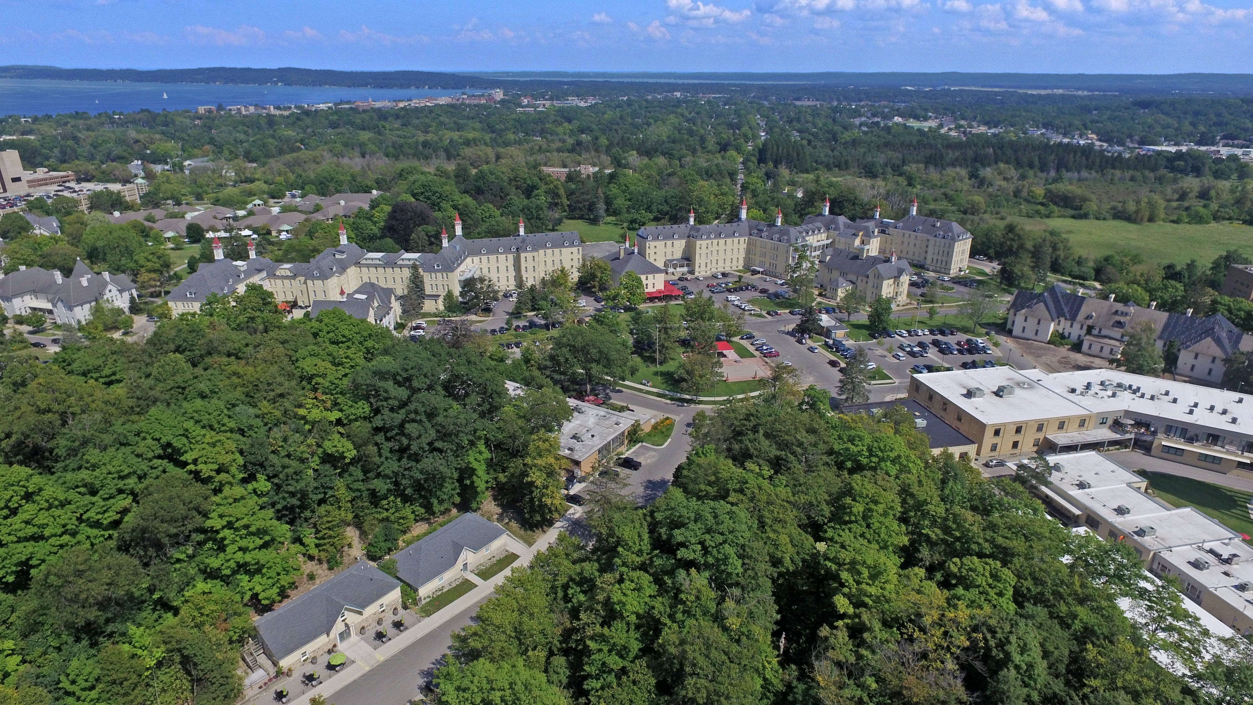 An aerial view of the former Traverse City State Hospital. The decommissioned psychiatric hospital now holds The Village at Grand Traverse Commons — among other developments.