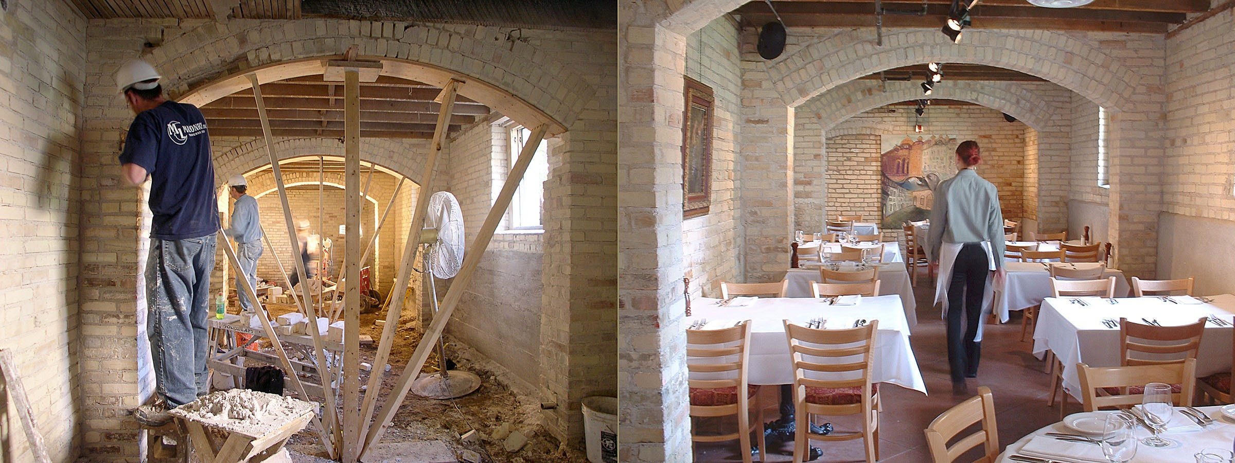 This before-and-after collage shows a restored portion of the former Traverse City State Hospital. The space now holds Trattoria Stella, considered one of the finest Italian eateries in the Midwest.