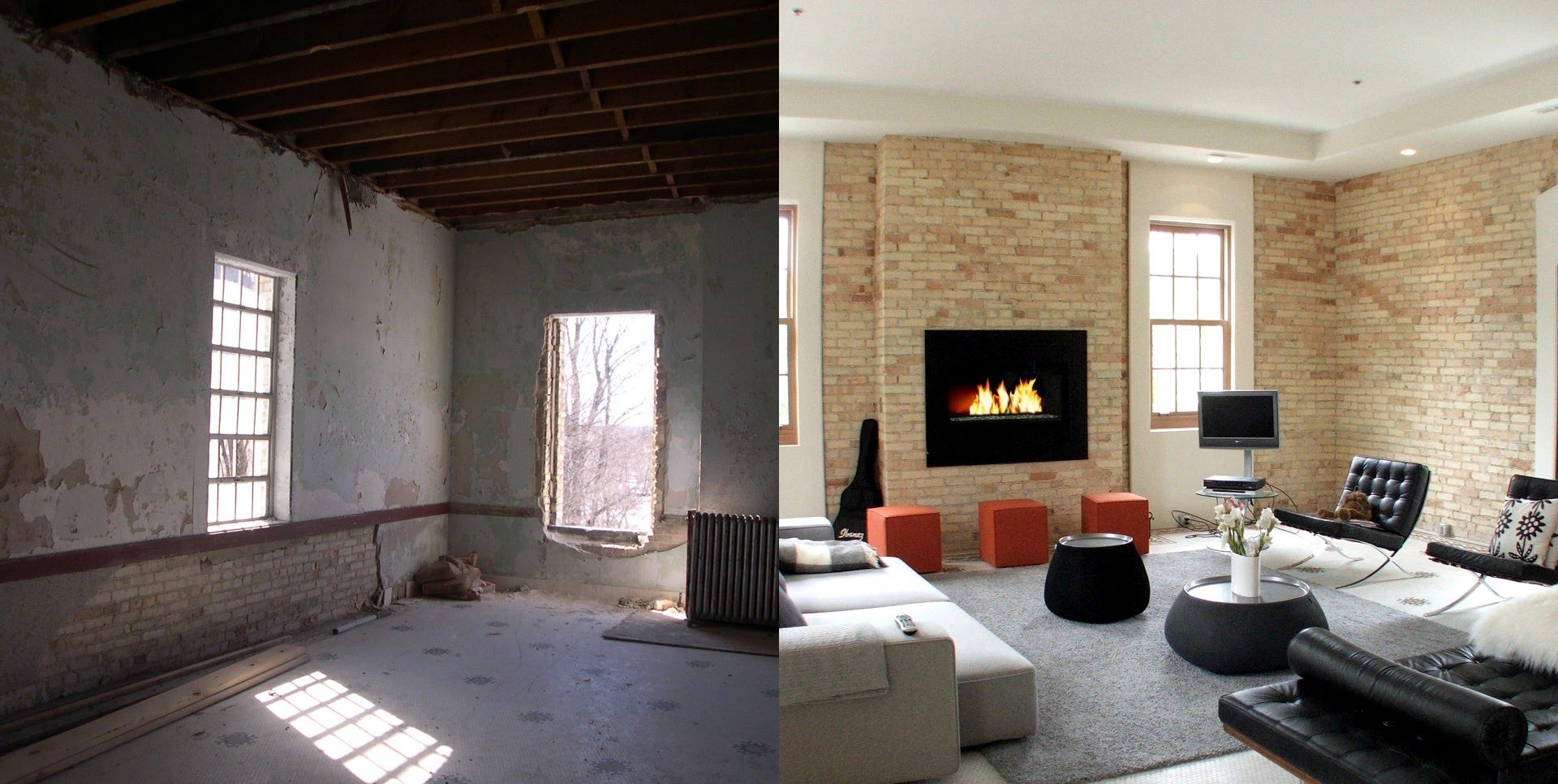 This before-and-after collage shows one of the residential units in The Village at Grand Traverse Commons. The space was once part of Northern Michigan Asylum, later renamed Traverse City State Hospital.