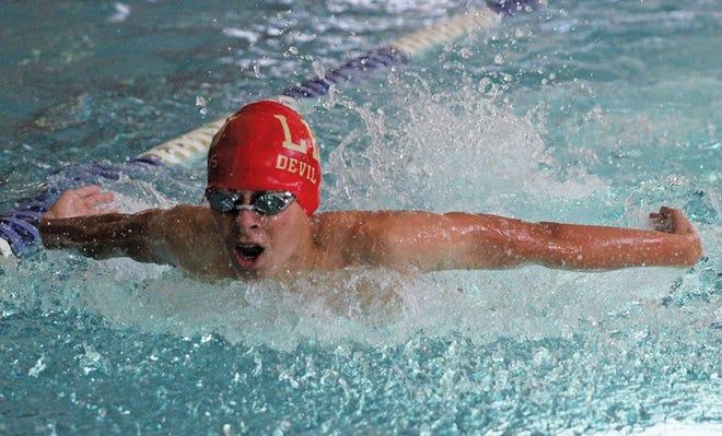 Luc Fecteau competes for the Lejeune High School swim team during the 2019-2020 season.
