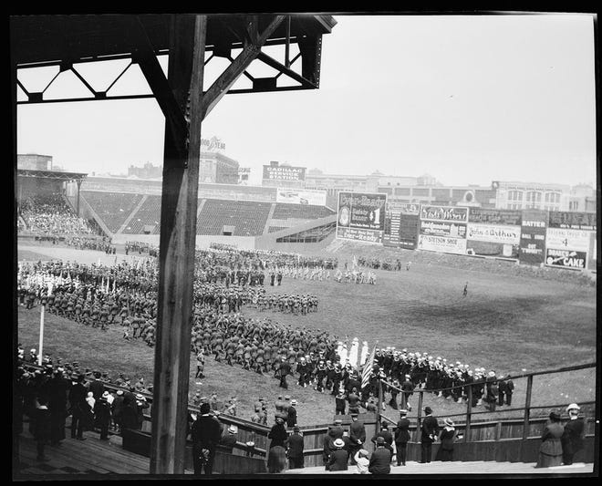 Over the past century, Fenway Park has hosted concerts, ice hockey and ceremonies, like this one shown in 1918.