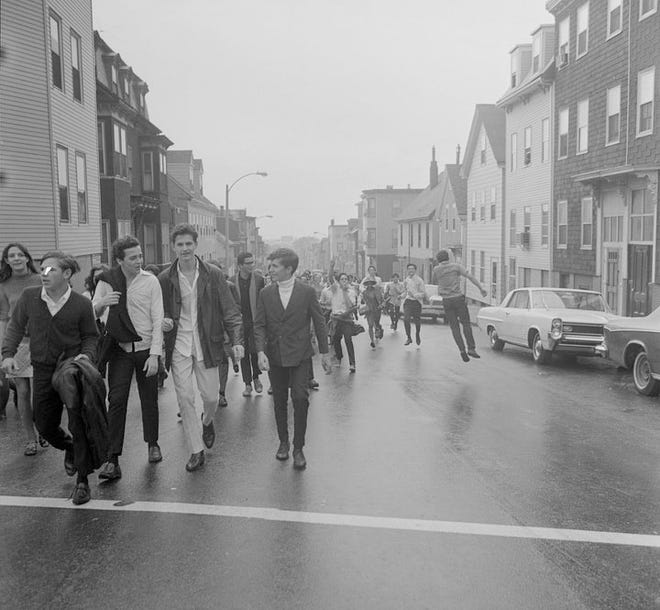 East Boston High School students boycott classes and run through traffic as they take part in the walkout, held on Sept. 26, 1968. Learn more at www.digitalcommonwealth.org.