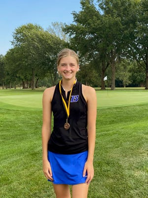 Carly Clarkson, senior member of the 2021 Brookfield High School golf Lady Bulldogs, wears the third-place medal she earned in the small-schools division of last Monday's Smith-Cotton Invitational tournament at Sedalia. She shot an 89 for the 18-holes event. She followed that with a team-best 13th-place showing in the Kirksville Invitational the next day, this time with a 98.