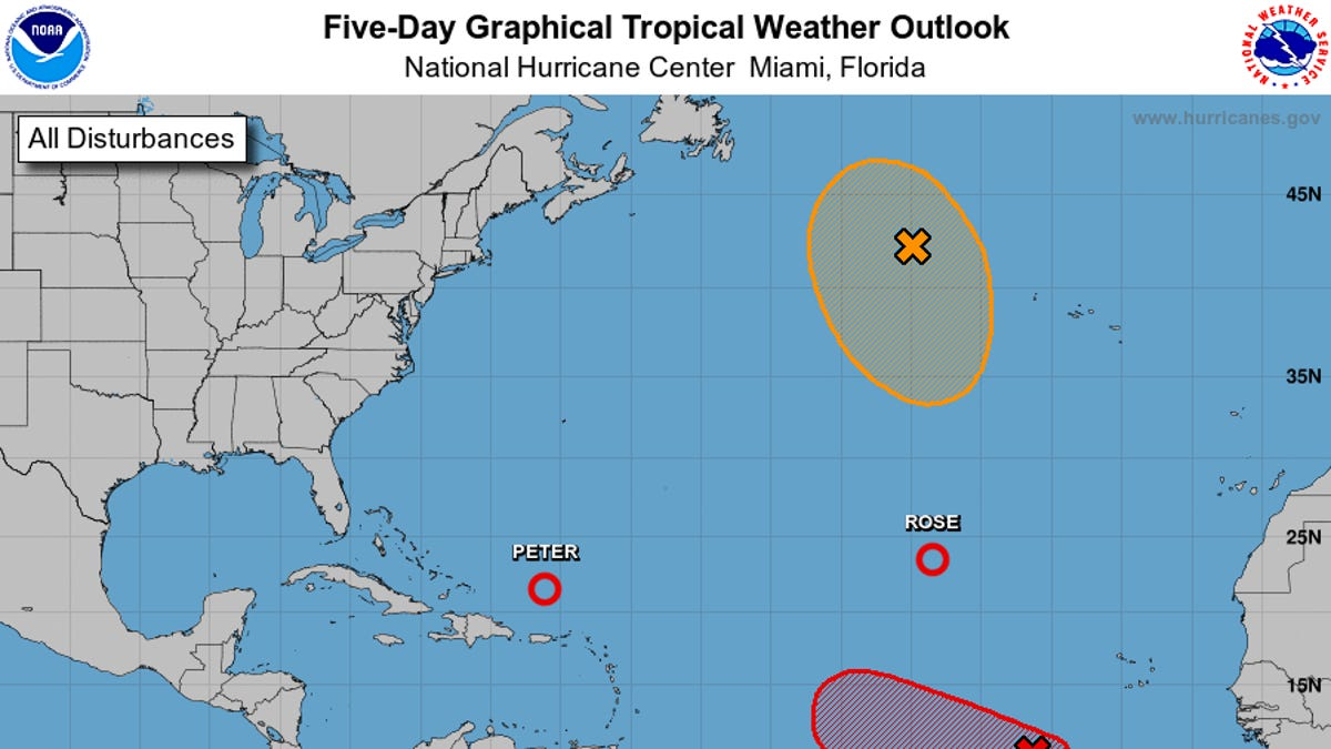 Tropics Watch: Tropical Depressions Peter and Rose to fade, 2 more systems in Atlantic