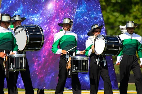 Percussionists perform as part of the Monrovia Bulldog Brigade on Saturday.