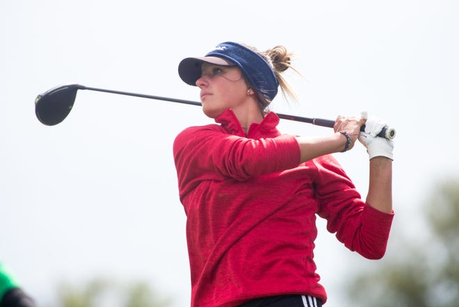 Oregon's Ava Hackman tees off from No. 11 during the Big Northern Conference Golf Championships on Wednesday, Sept. 22, 2021, at Timber Pointe Golf Club in Poplar Grove.