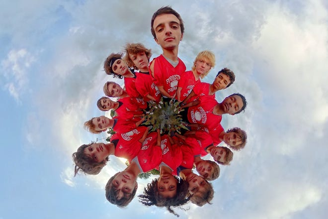 In this 360-degree photo edited into a flat image, the Forreston High School backfield rotation poses for a portrait on Tuesday, Sept. 21, 2021, at Forreston High School in Forreston.