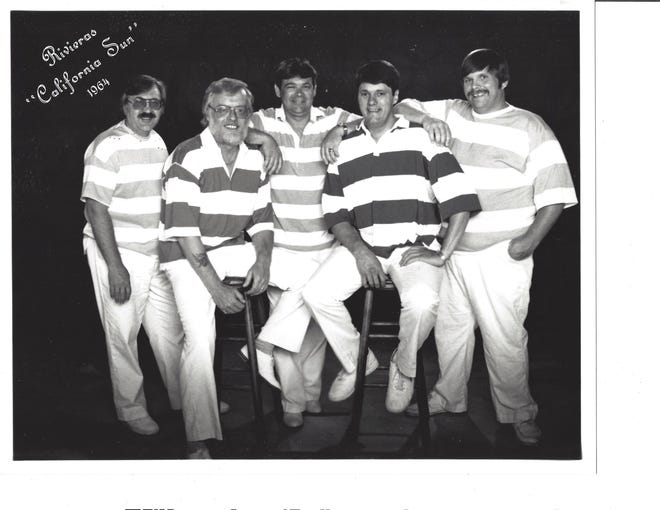 """South Bend's The Rivieras, which had a No. 2 hit in 1964 with """"California Sun,"""" reunited in the late 1970s and are shown in 1995: Otto Nuss, left, Marty Fortson, Doug Gean, Rocky Geans and Buddy Flora."""