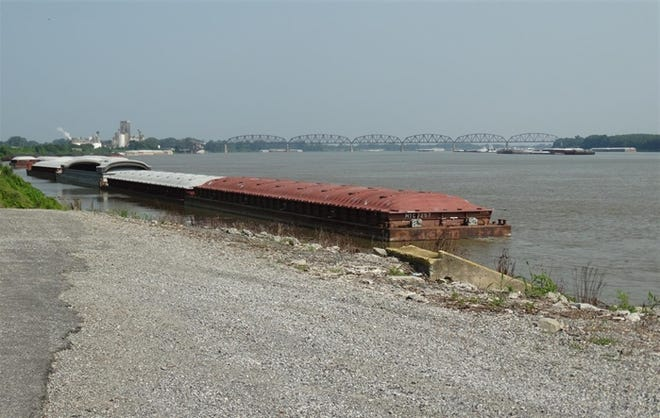 Barges like these on the Ohio River near Cairo could soon become a major source of economic growth for the region, which suffered substantial population loss over the last 10 years.