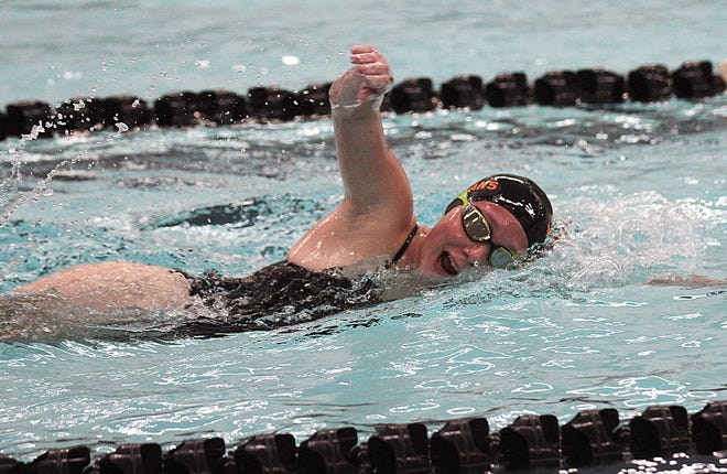 Randi Boland of Sturgis swims in the 200 freestyle race on Tuesday. Boland finished second overall in the race.