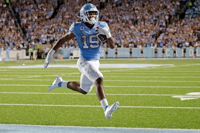 North Carolina running back Ty Chandler skips into the end zone against Georgia State on Sept. 11 for his first touchdown with the Tar Heels.