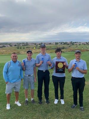 The 2021 Pueblo West High School boys golf team (left to right): Coach Dan Sanchez, Michael Whittlef, Noah Wagner, Preston Allen and Cody Ingo. [Courtesy photo/Pueblo West