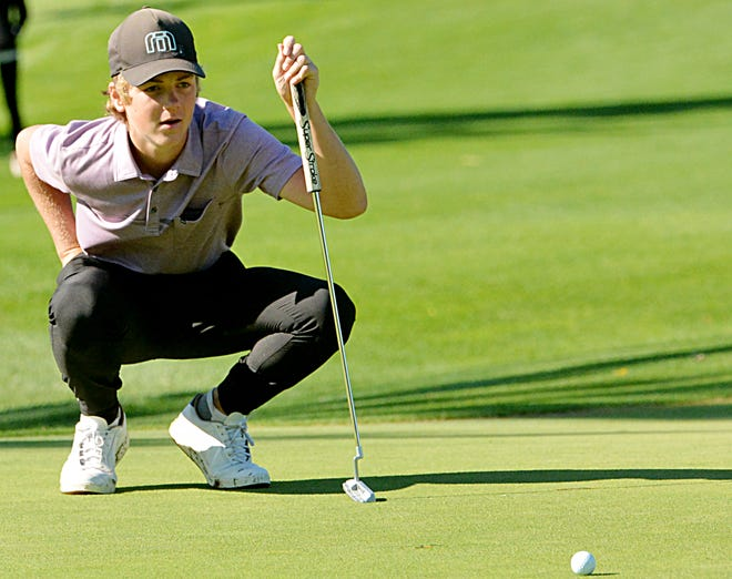 Watertown's Ty Lenards lines up a putt on No. 4 Yellow during the Watertown Boys Golf Invitational on Tuesday at Cattail Crossing Golf Course. The Arrows shot 299 and won by 12 shots. For a photo gallery from the tourney, visit www.thepublicopinion.com.
