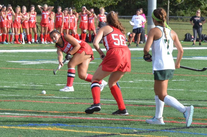 Kingsway senior Peyton Reiger passes to Tori Griffiths, who would score on the play against Clearview