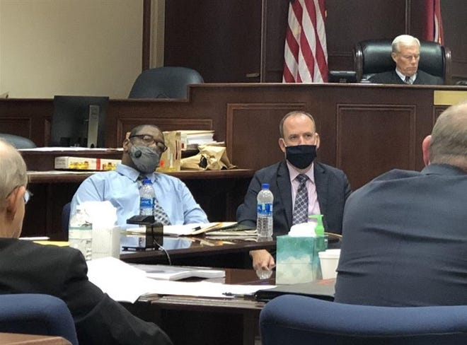 Defendant Kenneth Hudsepth, left, and attorney John Parker, right, in Montgomery County courthouse during Crista Bramlitt slaying trial Sept. 22, 2021