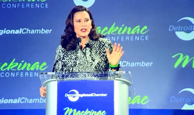 Michigan Gov. Gretchen Whitmer speaks at the Mackinac Policy Conference on Mackinac Island on Wednesday, Sept. 22, 2021.