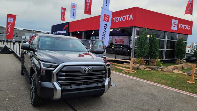 The Toyota Tundra is all-new and more competitive with the Detroit Three truckmakers. Upgrades include coil rear springs, a 14-inch screen, and LEGO Technic-like styling.
