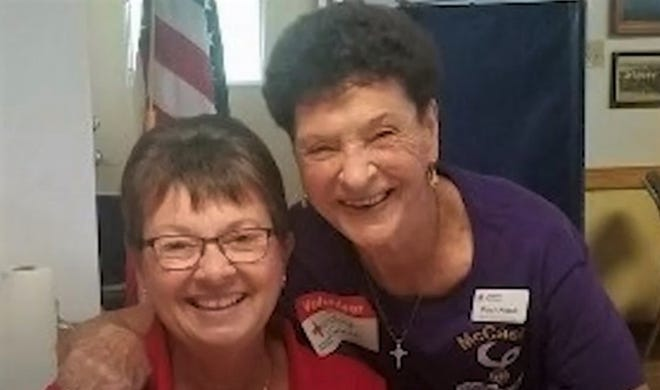 """Priscilla """"Percy"""" VanLanen Knaub of Lakewood, right, is seen posing for a photo at a Red Cross blood drive."""