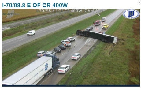 A semi truck crash on I-70 east of Mount Comfort is stalling traffic as of 8 a.m. Wednesday, Sept. 22, 2021.
