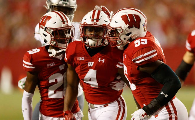 Donte Burton (4) has Wisconsin's only takeaway this season, an interception in the fourth quarter against Eastern Michigan.