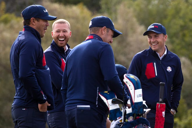 Team USA's Daniel Berger, left center, and Jordan Spieth, right, laugh with Brooks Koepka, left, as they wait to take the official 43rd Ryder Cup portrait at Whistling Straits, Wednesday, Sept. 22, 2021, in Haven, Wis. Samantha Madar/USA TODAY NETWORK-Wisconsin