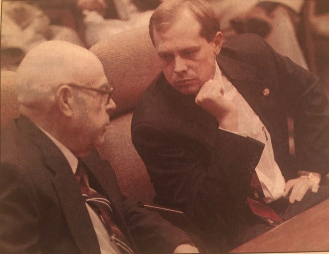 Sen. Jay Hottinger, right, then a state representative, speaks with Wally Horton about the future of the fledgling port authority in 1996. Horton was the port authority's first director and was instrumental to the efforts to privatize much of the Newark Air Force base.