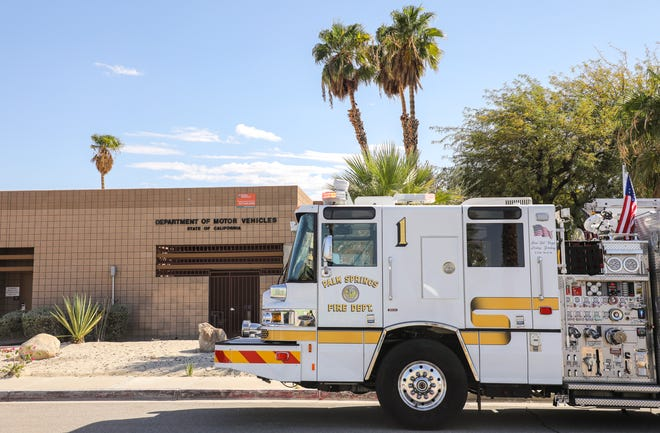 A Palm Springs Fire Department engine is seen parked outside of the DMV office at 950 N Farrell, Wednesday, Sept. 22, 2021, in Palm Springs. Initial reports indicated that around 15 people were experiencing airway issues of an unknown cause.