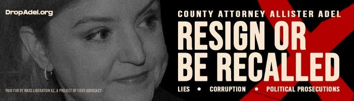 Billboards calling for the resignation of Maricopa County Attorney Allister Adel went up along Interstate 10 on Sept. 22, 2021.