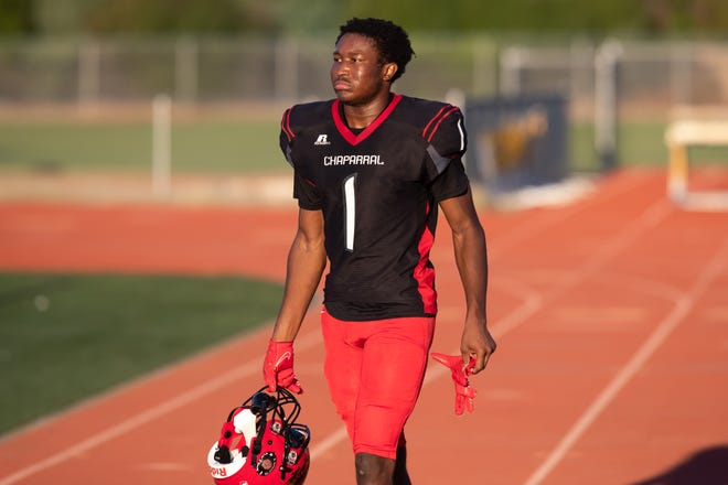 9/21/2021 Scottsdale, AZ, Chaparral High School football practice, Davondre Bucannon is ready for game of the week against Saguaro,By:Zac BonDurant/Special to the Republic
