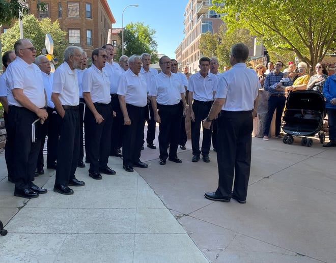 The Sioux Falls American Legion Post #15 sings the National Anthem during the 125th anniversary celebration of the U.S. Courthouse in downtown Sioux Falls on Friday, Sept. 17, 2021.