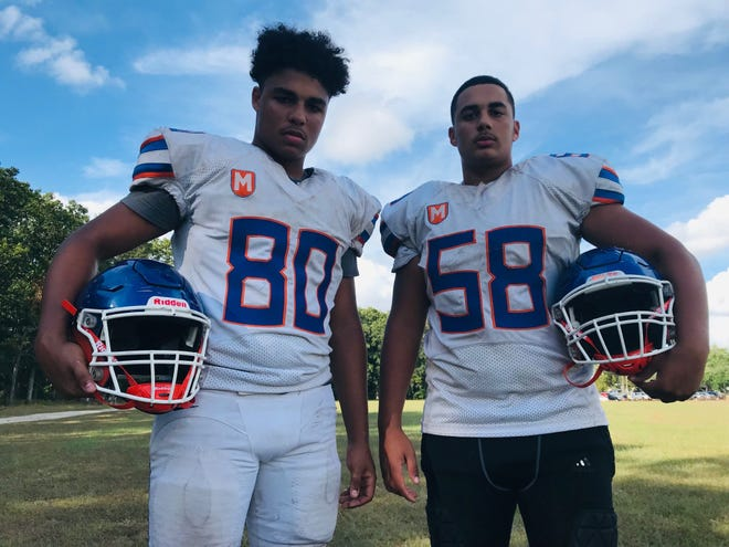 Millville freshmen linemen Darian Blachewicz, left, and Marcus Offer, right, have yet to allow a sack this season.