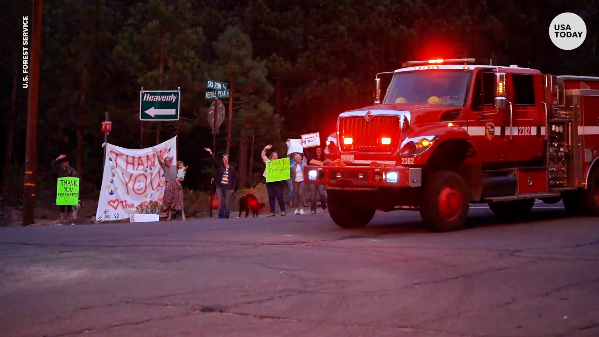Lake Tahoe residents line streets to thank firefighters battling Caldor wildfire