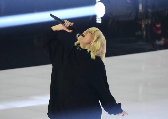 Billie Eilish introduces a performance by Foo Fighters at the MTV Video Music Awards at Barclays Center on Sept. 12.