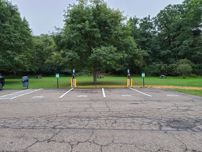 Two recharging units were recently installed at Sagamore Park. Grant money paid for the units, which can charge two vehicles each.