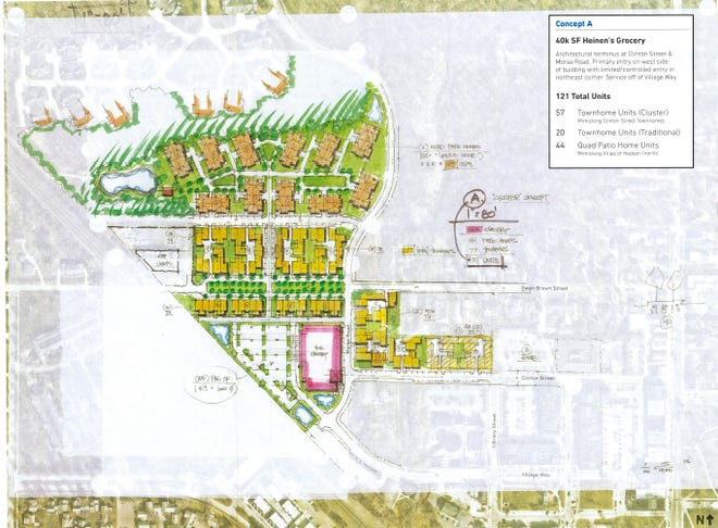 This map shows Fairmount Properties' proposal for a Downtown Phase II project. It would include building a new Heinen's store and 121 residential units. A community open house to discuss the project will happen on Sept. 29 at 7 p.m. at city hall, 1140 Terex Road.