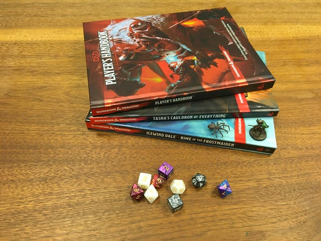 Some of the tools of the game Dungeons & Dragons, which will be played in a new game Rodman Public Library is setting up for adult players.