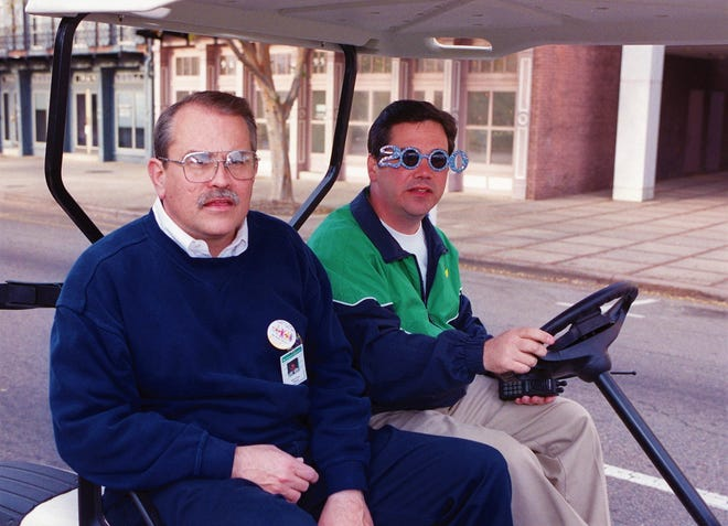 Bill Kirby, left, and John Fish at the Celebrate 2000 street party.