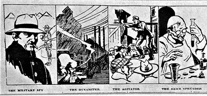 A 1918 newspaper illustration warns of the danger of German spies.