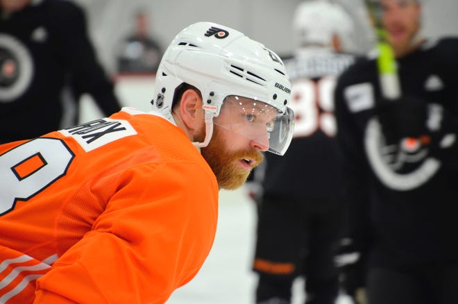 Flyers captain Claude Giroux skates at first day of training camp in Voorhees, New Jersey.