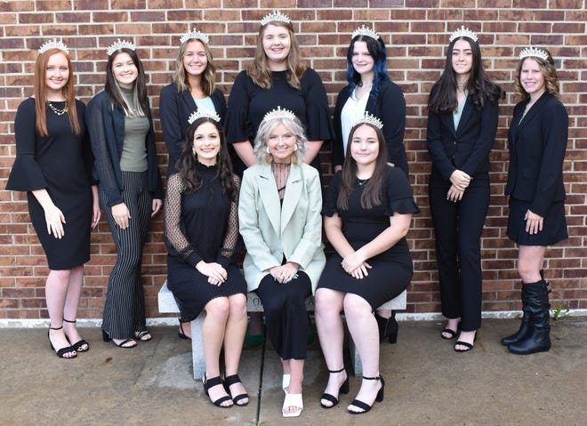 This year's homecoming court for Barnesville High School includes front row, from left, Katey Rockwell, Kendal Lucas and Kailee Swallie; back row, Jasmine Caldwell, Olivia Fisher, Jordyn Strous, Anna Yater, Breanna Meade, Emma Helmick and Elly Castello. They will draw the rose on Oct. 8.