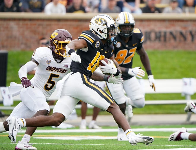 Missouri wide receiver Chance Luper (18) runs the ball against Central Michigan on Sept. 4 at Faurot Field.
