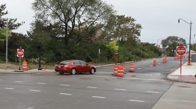 A car turns the wrong way from South 4th Street onto one-way eastbound East Fulton Street on Wednesday in downtown Columbus.  Many motorists have made the same mistake in the past two weeks, often to try and get to the Interstate 70 east ramp,  since the Ohio Department of Transportation changed the traffic directional flow there.