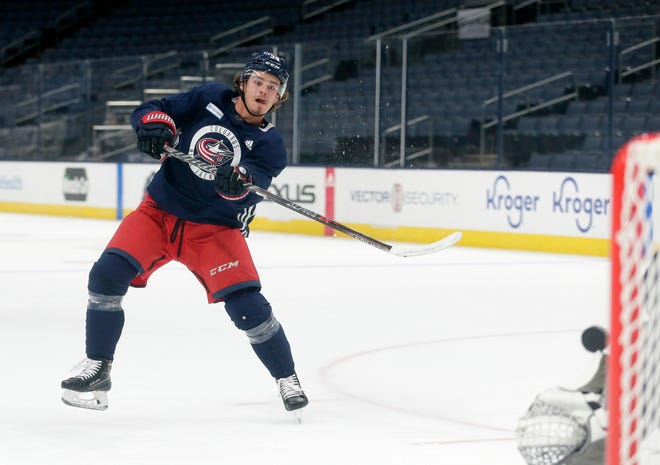 Cole Sillinger was on the ice with the Columbus Blue Jackets for the first day of training camp at Nationwide Arena in Columbus on Friday, September 23, 2021. Sillinger was drafted by the Blue Jackets with the No. 12 pick in the first round of the 2021 NHL draft.