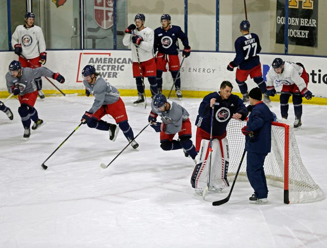 The Columbus Blue Jackets were on the ice for the first day of training camp at Nationwide Arena in Columbus on Friday, September 23, 2021.