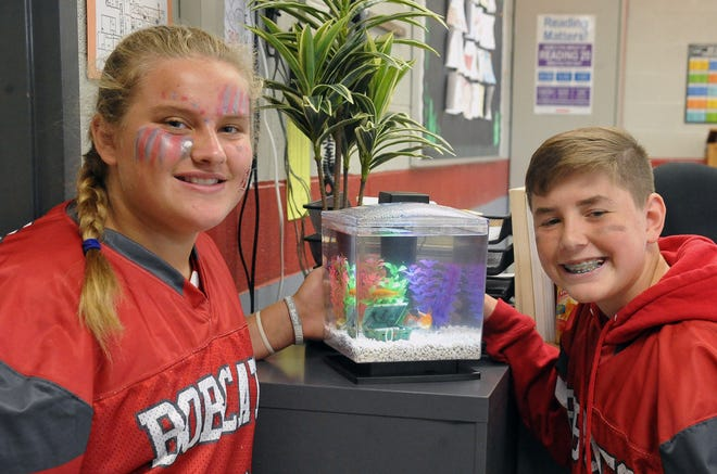 Haley Bittinger and Matthew Troup with fish they won at the Wayne County Fair. They have a new home in Cassondra Mey's eighth-grade language arts classroom at Norwayne Middle School. The fish are named Demetrius Bar Thalomuel James III Jr., Reeco, Demarcus, Frederick Issac-Ham Sheldon Herbert, Sushi and Brett.