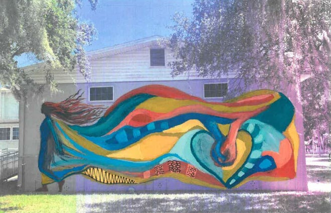 Initial concept design for the future city gym mural in New Smyrna Beach; residents' input and design contributions will ultimately make up the final design.