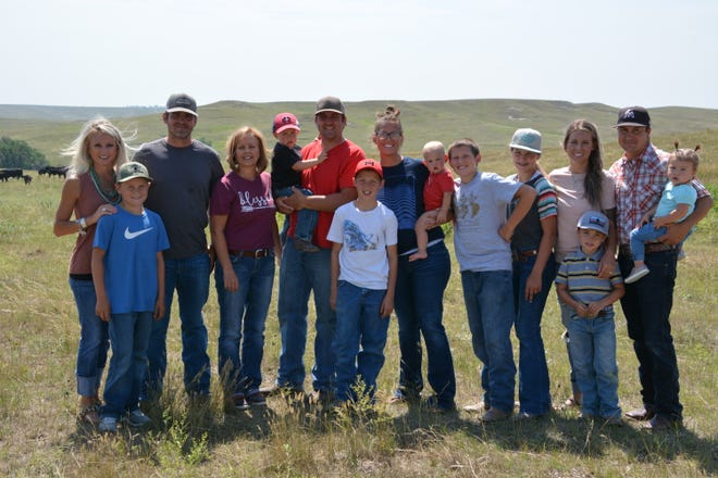 South Dakota Farmers Union has served South Dakota farm and ranch families for more than a century. The Harris family pictured here: Kasi & Klay and son, Rhyder; Kim; Kalen & Heather and children: Dean, Kade, Koby, Jace and Harley; Kelsie (Harris) & Luke Meeks and their children: Narley and Radley.