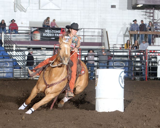 Barrel racing is one of eight events featured at the 2021 Badlands Circuit Finals Rodeo, which will be held Oct. 8-10 at the State Fair Center in Minot, N.D. Here, Jessica Routier makes a run at the 2020 Badlands Circuit Finals Rodeo.